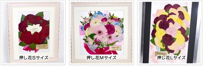 プロポーズのお花を押し花で保存の場合 押し花S・M・Lサイズ