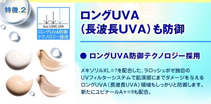 特徴2 ロングUVA(長波長UVA)も防御