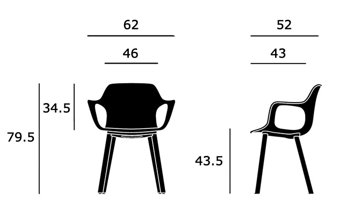 HAL Armchair Woodサイズ