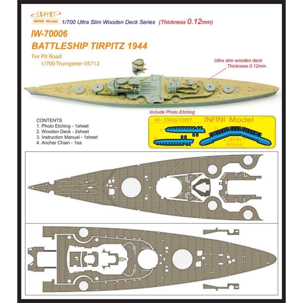 【新製品】IW-70006)戦艦 ティルピッツ 1944 木製甲板