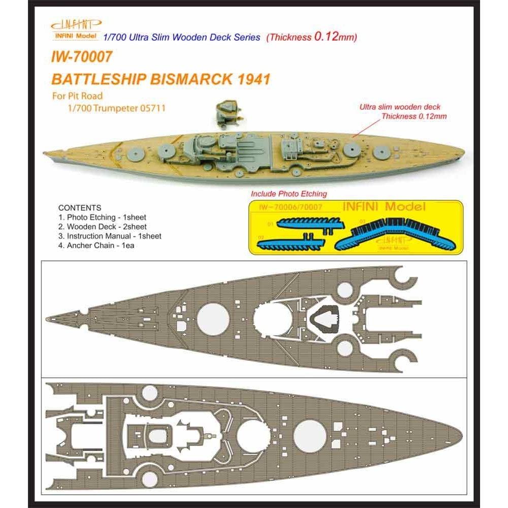 【新製品】IW-70007)戦艦 ビスマルク 1941 木製甲板