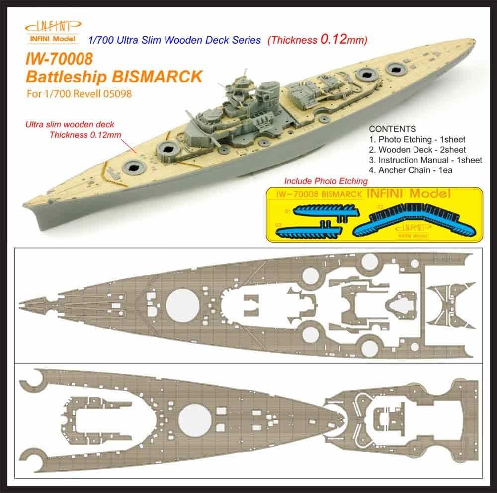 【新製品】IW-70008)戦艦 ビスマルク 1941 木製甲板