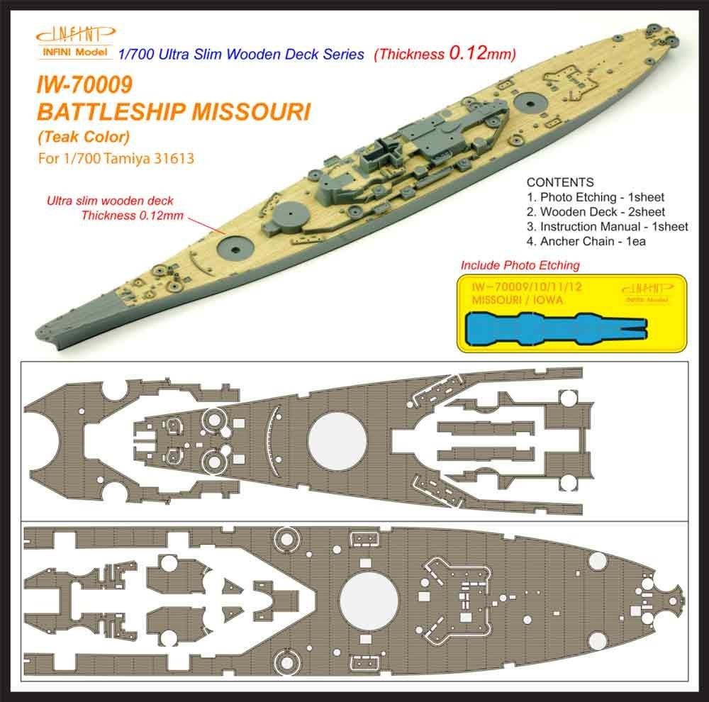 【新製品】IW-70009)戦艦 ミズーリ チーク 木製甲板