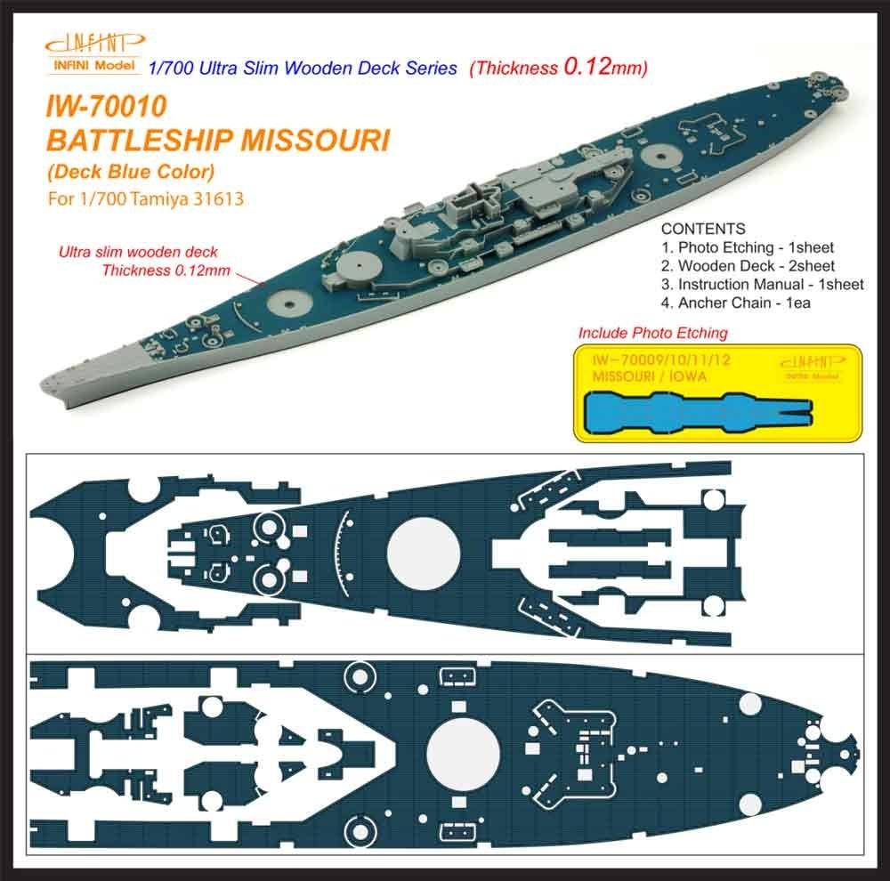 【新製品】IW-70010)戦艦 ミズーリ デッキブルー 木製甲板