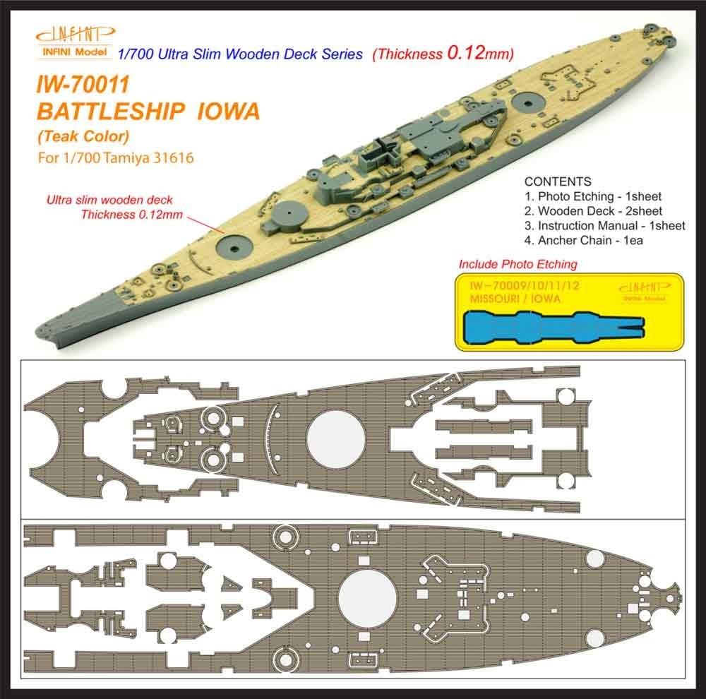 【新製品】IW-70011)戦艦 アイオワ チーク 木製甲板
