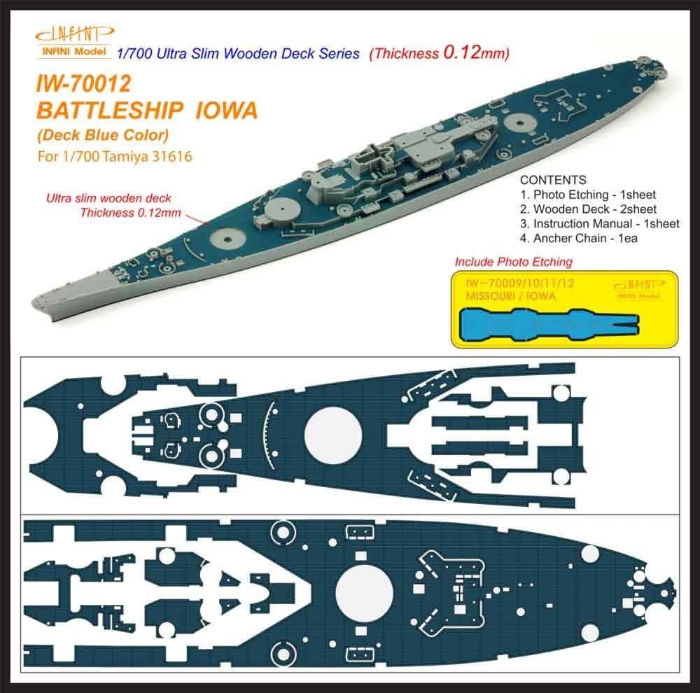 【新製品】IW-70012)戦艦 アイオワ デッキブルー 木製甲板