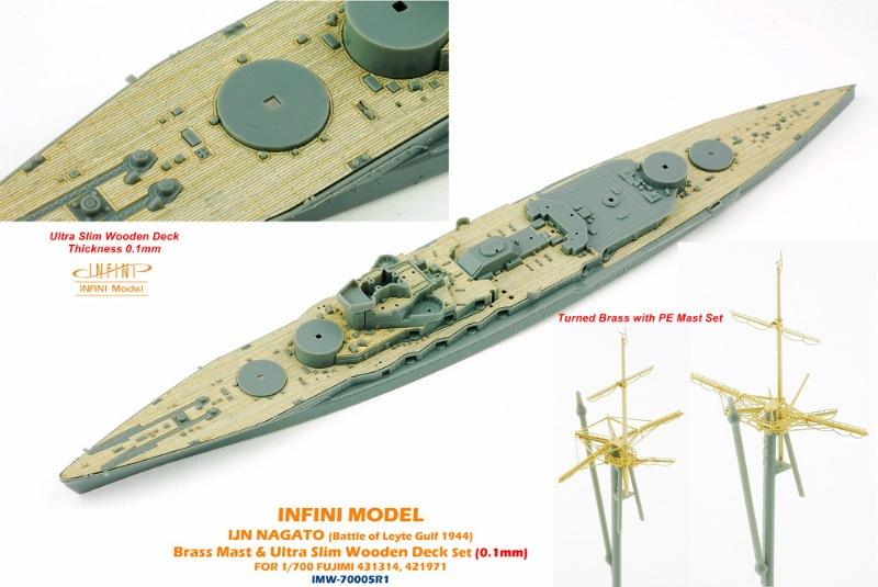 【新製品】IMW70005R1)戦艦 長門 レイテ沖海戦 1944 マスト&木製甲板