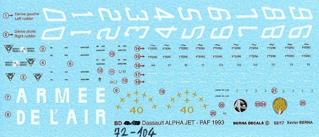 【新製品】BD72-104)ダッソー アルファ ジェット 1993