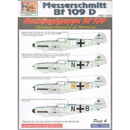 【新製品】HMD72040)メッサーシュミット Bf109D NJGr