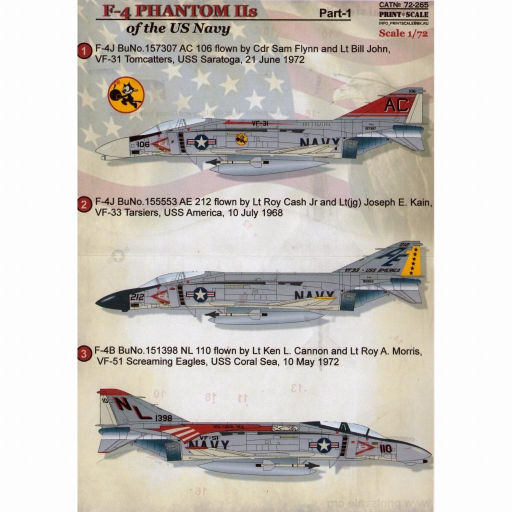 【新製品】72265)F-4 ファントムII アメリカ海軍 Pt.1