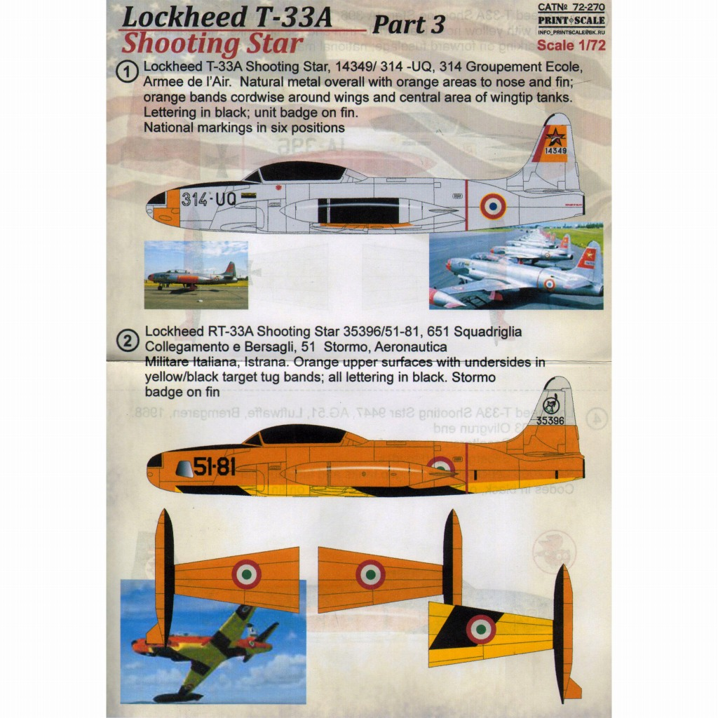 【新製品】72270)ロッキード T-33A シューティングスター Pt.3