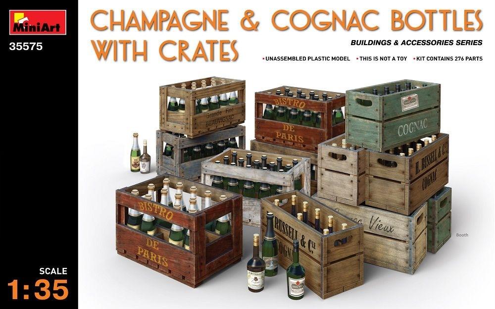 【新製品】35575)シャンパン&コニャックボトル 木枠箱付