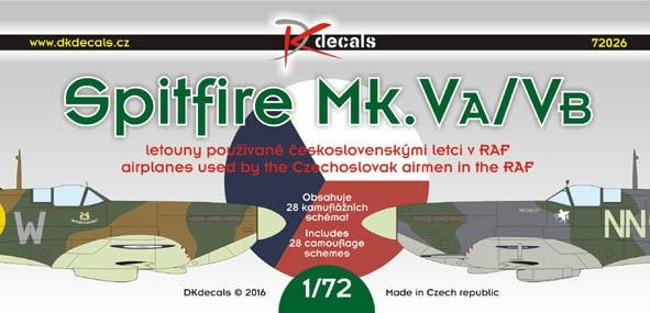 【新製品】DKデカール 72026)スーパーマリン スピットファイア Mk.Va/Vb チェコスロバキアパイロット
