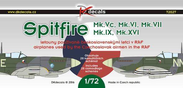 【新製品】DKデカール 72027)スーパーマリン スピットファイア Mk.Vc/VI/VII/IX/XVI チェコスロバキアパイロット