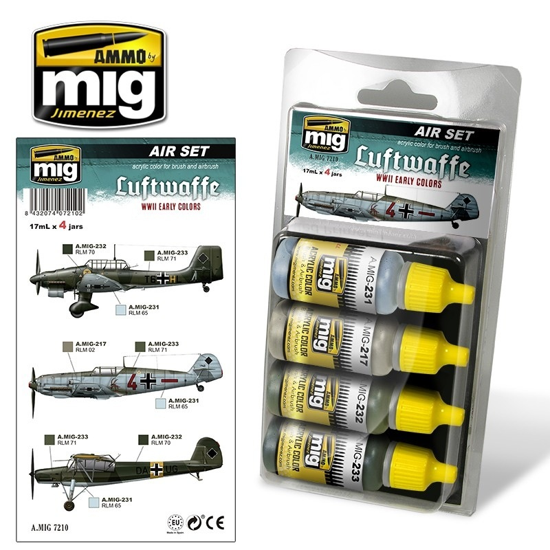 【新製品】A.MIG7210)WWII ドイツ空軍前期カラーセット