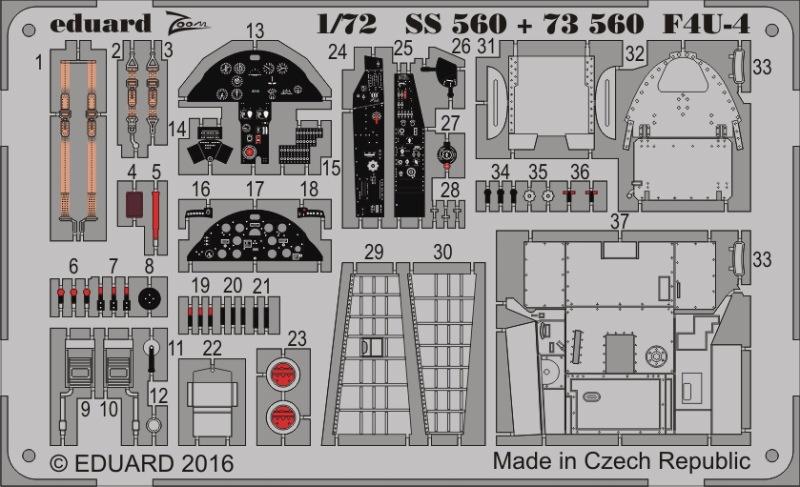 【新製品】SS560)塗装済 F4U-4 コルセア 計器盤/シートベルト