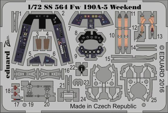 【新製品】SS564)塗装済 フォッケウルフ Fw190A-5 計器盤/シートベルト