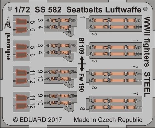 【新製品】SS582)塗装済 独空軍機 戦闘機用 シートベルト