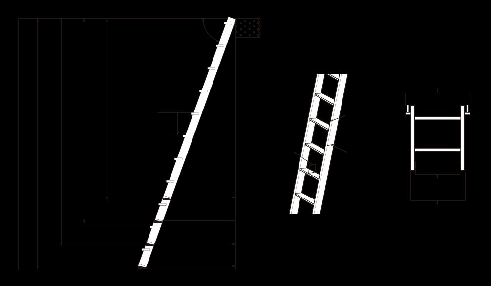金属製ロフトはしごハイブリッドラダー(木製アルミ)の寸法図