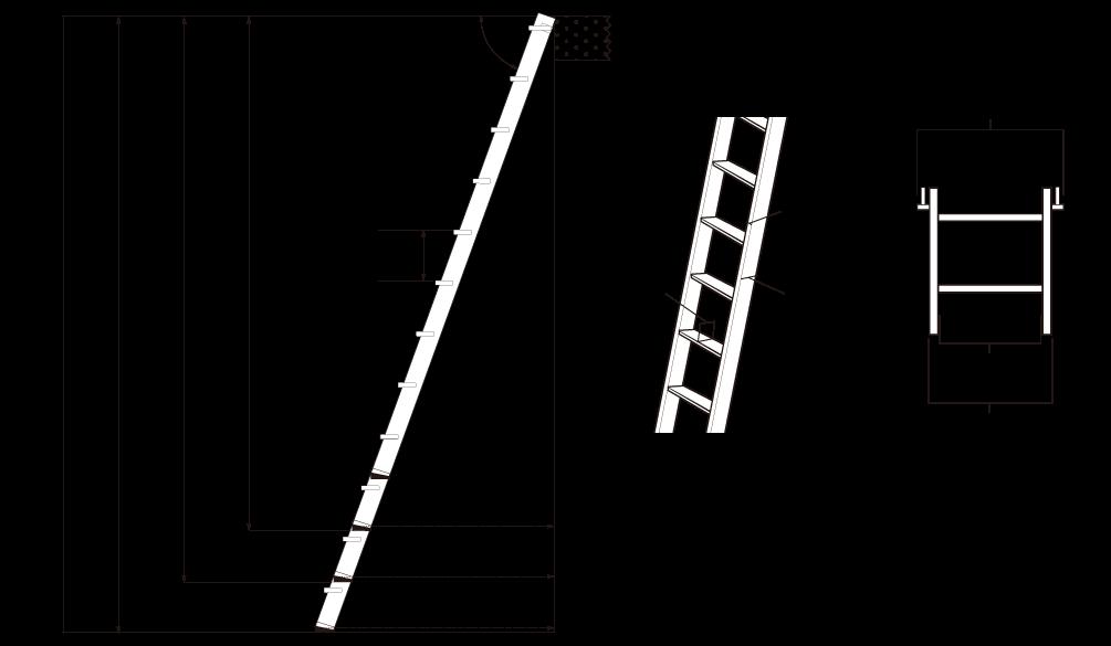 金属製ロフトはしごホワイトラダー(アルミ製)の寸法図