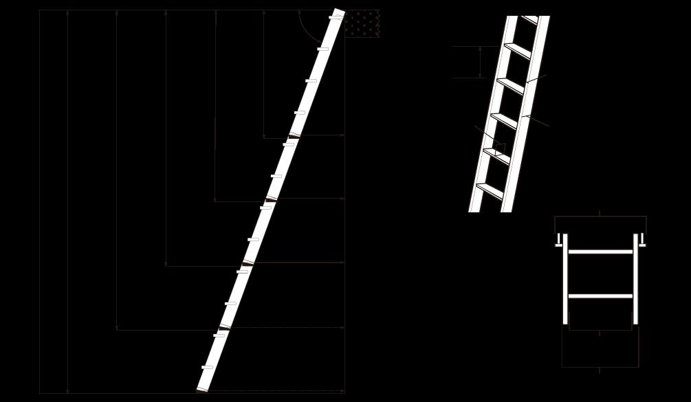 木製ロフトはしご北欧ラダーの寸法図