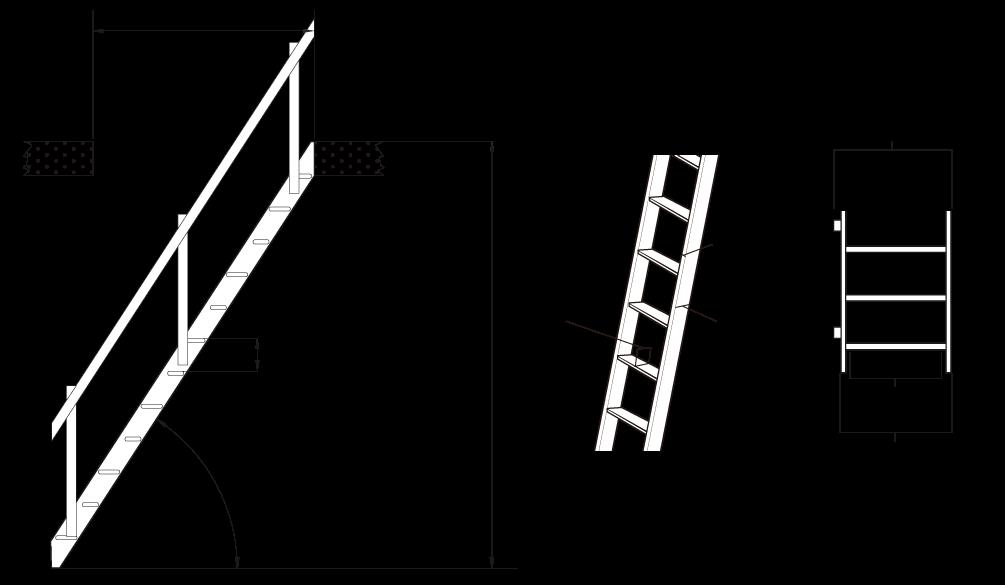 木製ロフト階段デザインステップの簡易寸法図