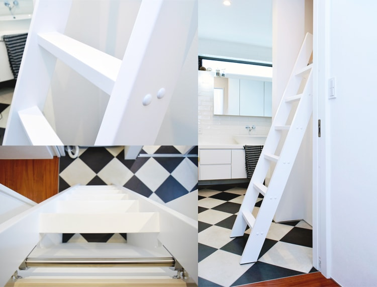 木製ロフトはしごカスタムラダー白塗装の展示イメージ