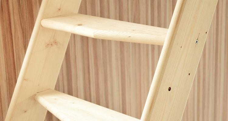 北欧産デザインステップ木製ロフト階段は手になじむ曲線仕様