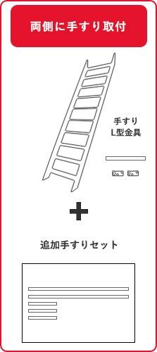 木製ロフト階段、両側手すり取付の場合