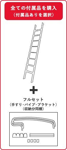 ハイブリッドラダー金属製ロフトはしごと付属品フルセットを購入の場合