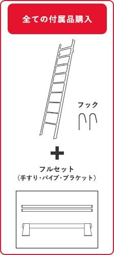 ルカーノラダー金属製ロフトはしごと付属品フルセットを購入の場合