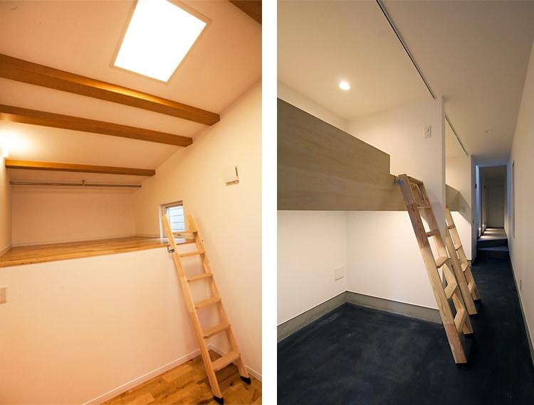 木製ロフトはしご北欧ラダーのスキップフロア使用例