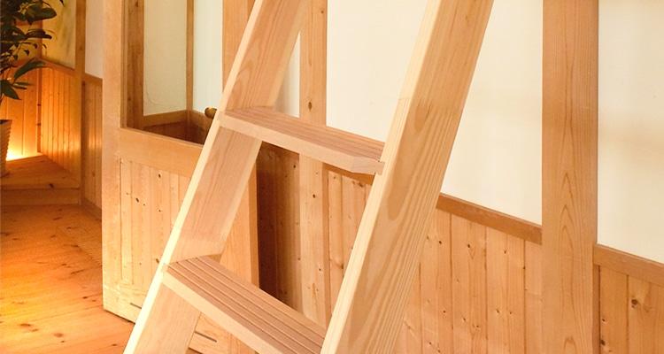木製ロフトはしご北欧ラダーの素材