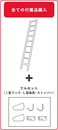 北欧ラダー(アウトレット)木製ロフトはしごの付属品フルセット購入の場合