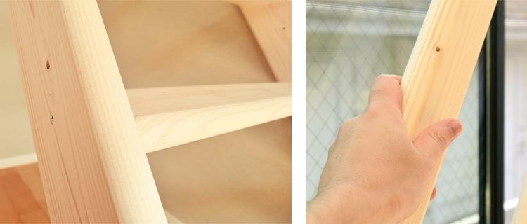 北欧産ワイドステップ木製ロフト階段は手になじむ曲線仕様
