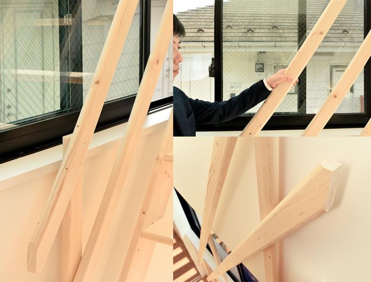 北欧産ワイドステップ木製ロフト階段は片側仕様の手すり