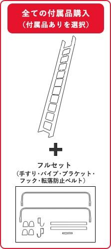 セーフティーラダー木製ロフトはしごの付属品フルセット購入の場合