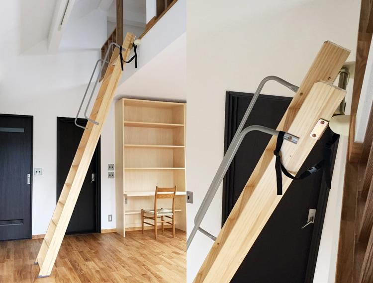 木製ロフトはしごセーフティーラダーの転倒防止ベルト