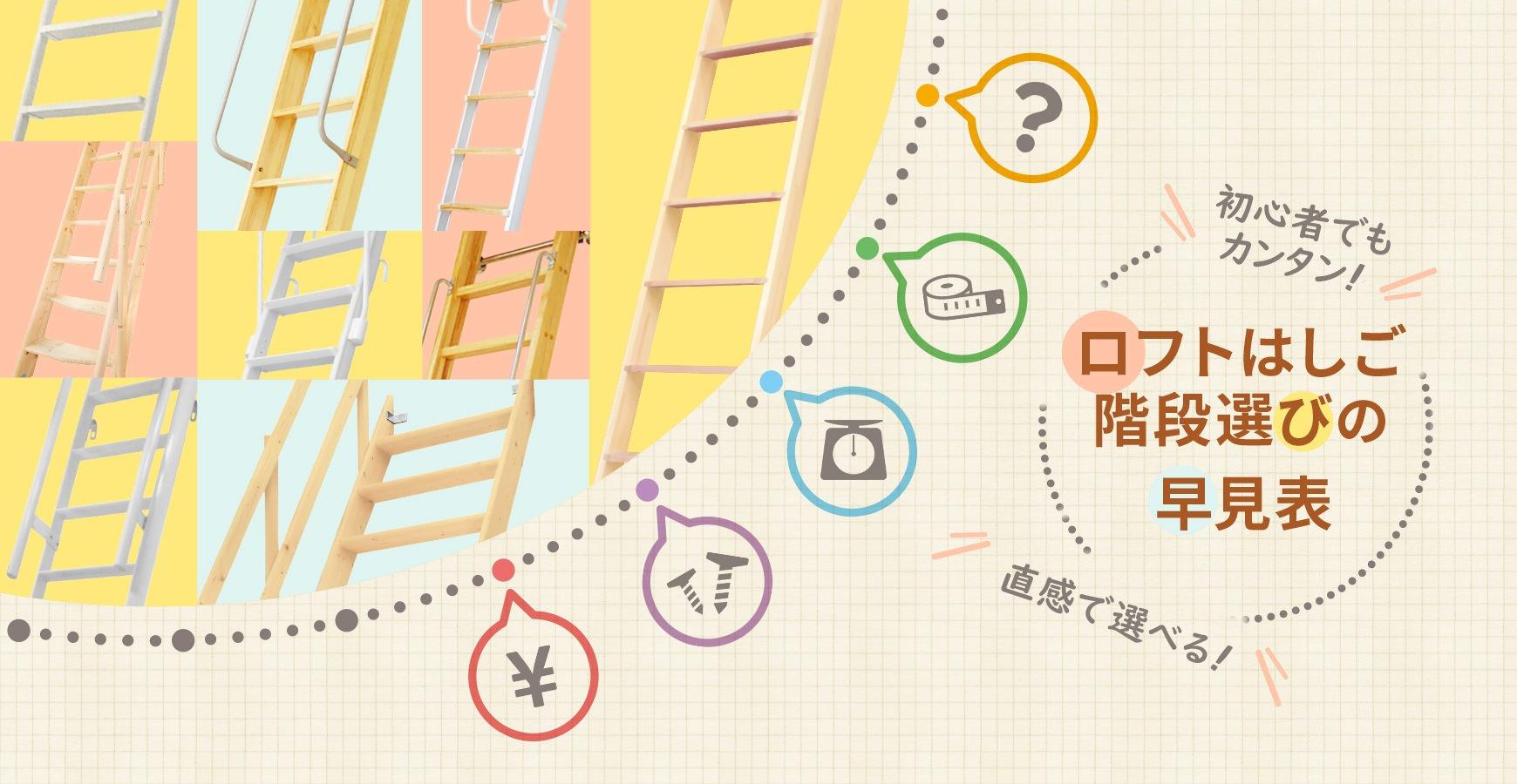 これで解決!ロフトはしご・階段を選ぶ早見表