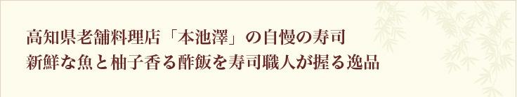 高知県老舗料理店「本池澤」の自慢の寿司  新鮮な魚と柚子香る酢飯を寿司職人が握る逸品