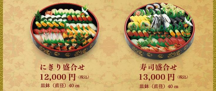 本池澤のおせち(にぎり盛り合わせ、寿司盛り合わせ)