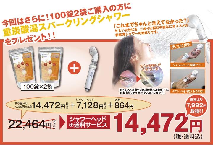 100錠入り×2袋のまとめ買いのお客さま限定!シャワーヘッドプレゼント!!
