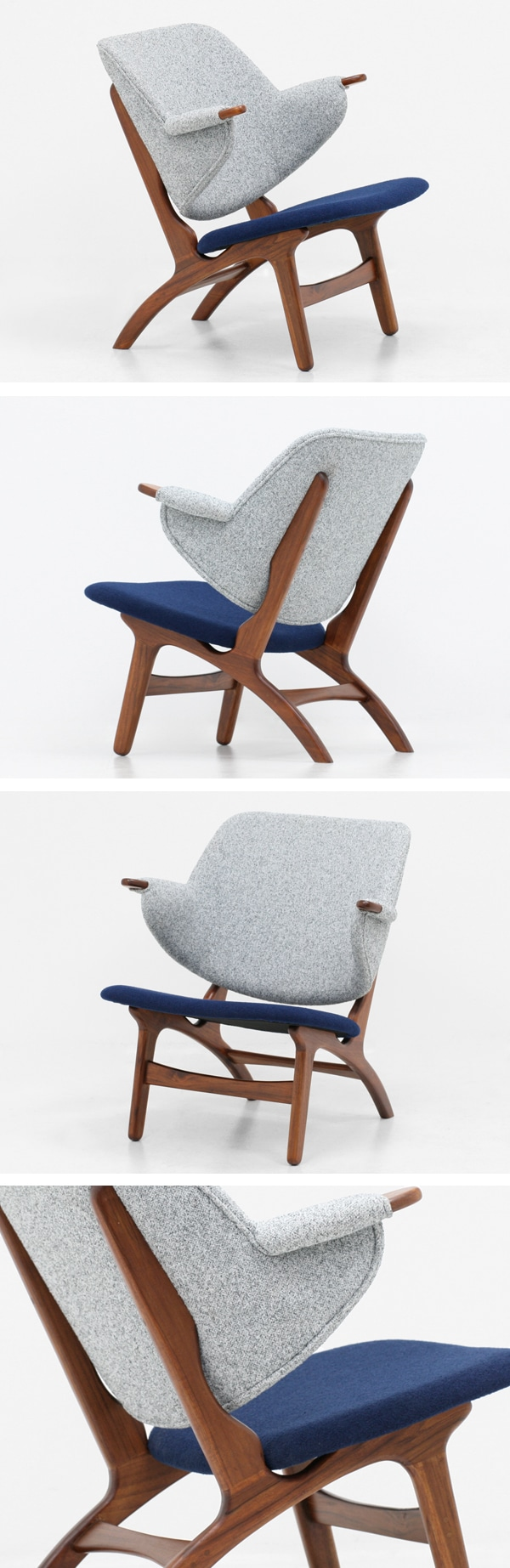 北欧デザイン家具,Klokken,クロッケン,チーク材,ラウンジチェア,グレー,ネイビー