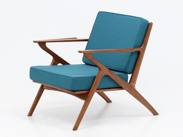 北欧,デザイン,家具,クロッケン,チーク材,1人掛け,ソファ,ブルーグリーン