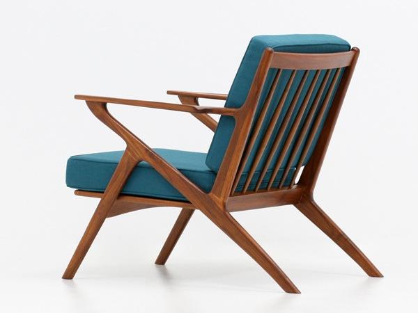 北欧,デザイン,家具,クロッケン,チーク材,1人掛け,ソファブルーグリーン