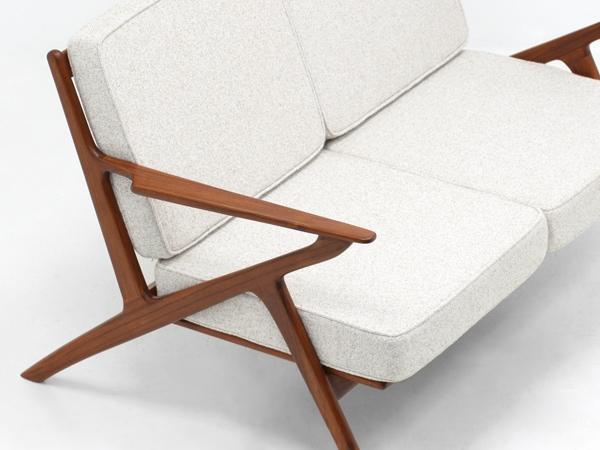 北欧,デザイン,家具,クロッケン,チーク材,2人掛け,ソファ,ベージュ