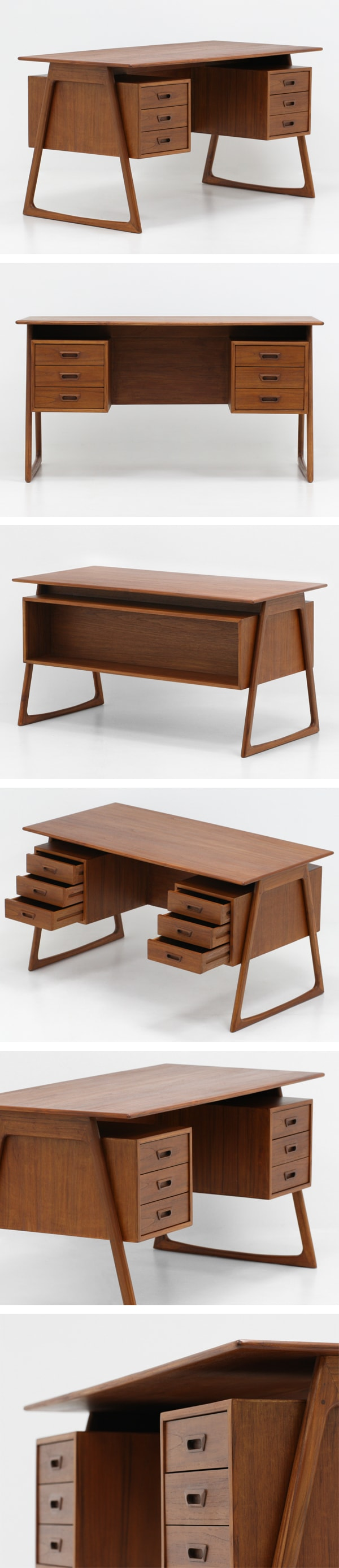 北欧デザイン家具,Klokken,クロッケン,チーク材,両袖デスク,机