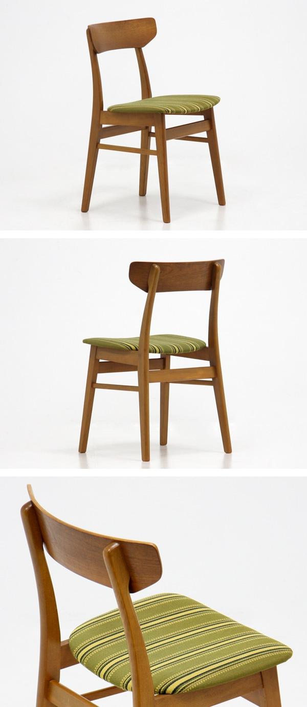 北欧家具,中古,ダイニングチェア,チーク材,ストライプ柄,緑,4脚セット,椅子,兵庫