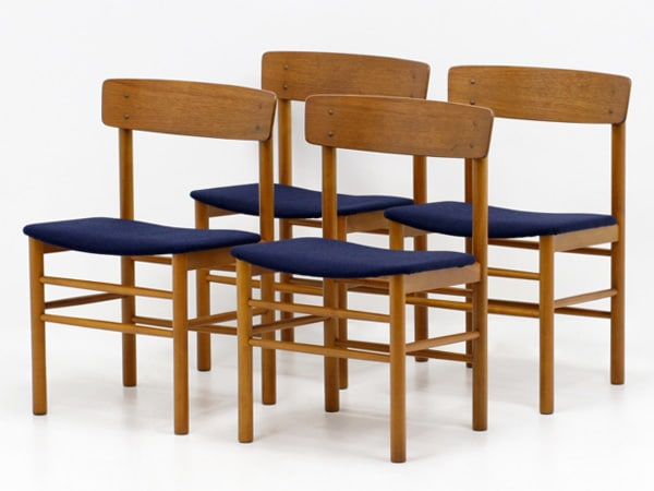 ビンテージチェア,紺,チーク材,中古,椅子,一脚,木製フレーム,デンマーク,北欧家具屋,ibukiya
