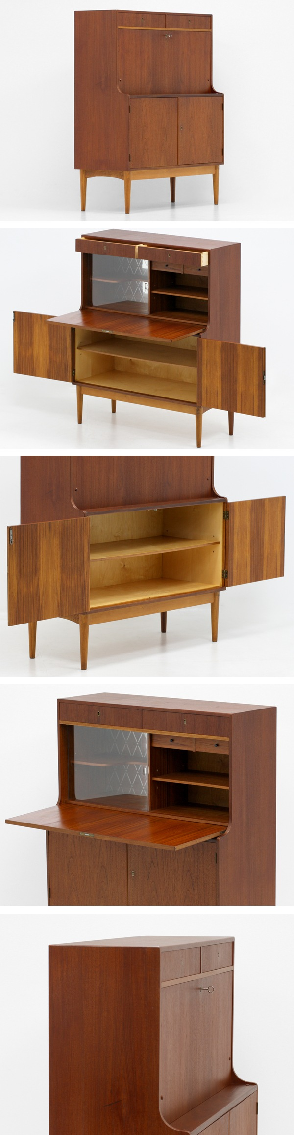 北欧家具,ヴィンテージ,ライティングビューロー,チーク材,鍵付き,飾り棚